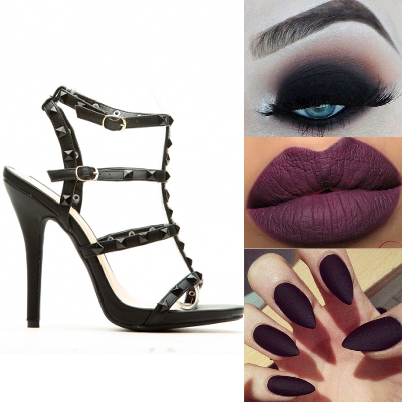 01af372629c Be dark and mysterious on this magical night by channeling this look! Our  Black Faux Leather Studded Ankle Strap Single Sole Heels would be such a  sexy ...