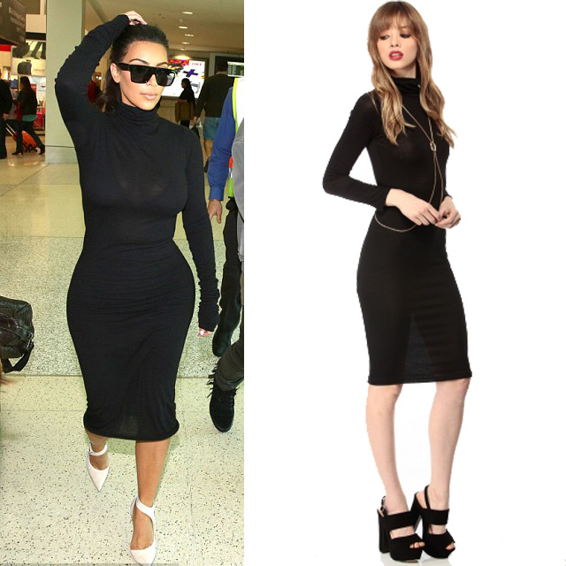 bbf16b6e6f A black midi can do you no wrong! Kim K was spotted out at an airport with  her family while rocking a cute Long Sleeve Turtle Neck top and a Black  Midi ...