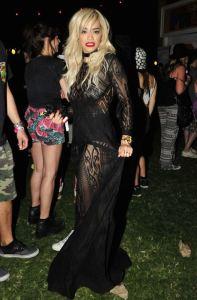 Rita-Oras-Coachella-Robert-Cavalli-Fall-2014-Black-Sheer-Knit-Maxi
