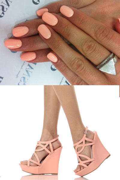 48d67cf795b7 Grab our Peach Faux Leather Cut Out Sling Back Wedges for your Spring  Outfit Of The Day ad match them up with a cute Peach Manicure!