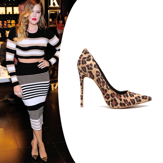 18414b50572 Get fun and fierce in our Leopard Print heels Faux Suede Pointy Toe Classic  Pumps while channeling Khloe Kardashian in her cute ensemble!